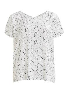 objclarissa s/s top 103 23029806 object t-shirt gardenia/w. black dots
