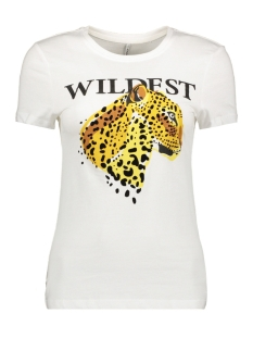 Only T-shirt ONLFLEA FIT S/S LEO TOP BOX CO JRS 15183203 Bright White/WILDEST