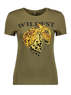 Only T-shirt ONLFLEA FIT S/S LEO TOP BOX CO JRS 15183203 Martini Olive/WILDEST
