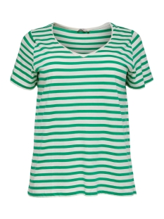 Only Carmakoma T-shirt CARLIFE V-NECK SS TEE SUS 15176909 Simply Green/CLOUD DANCER