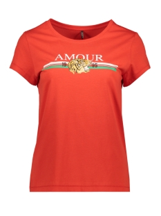 Only T-shirt ONLLEONA S/S TOP BOX JRS 15178606 Flame Scarlet/AMOUR