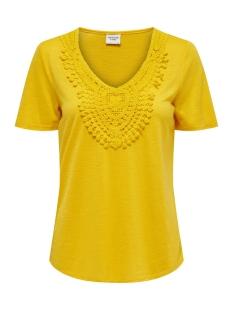 Jacqueline de Yong T-shirt JDYDODO S/S TOP JRS 15154568 Lemon/DTM CROCHE