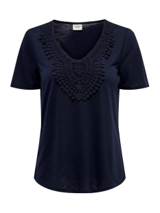 Jacqueline de Yong T-shirt JDYDODO S/S TOP JRS 15154568 Navy Blazer/DTM CROCHE