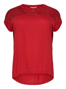Only Carmakoma T-shirt CARFLAKE S/S MIX TOP ESS 15178278 High Risk Red