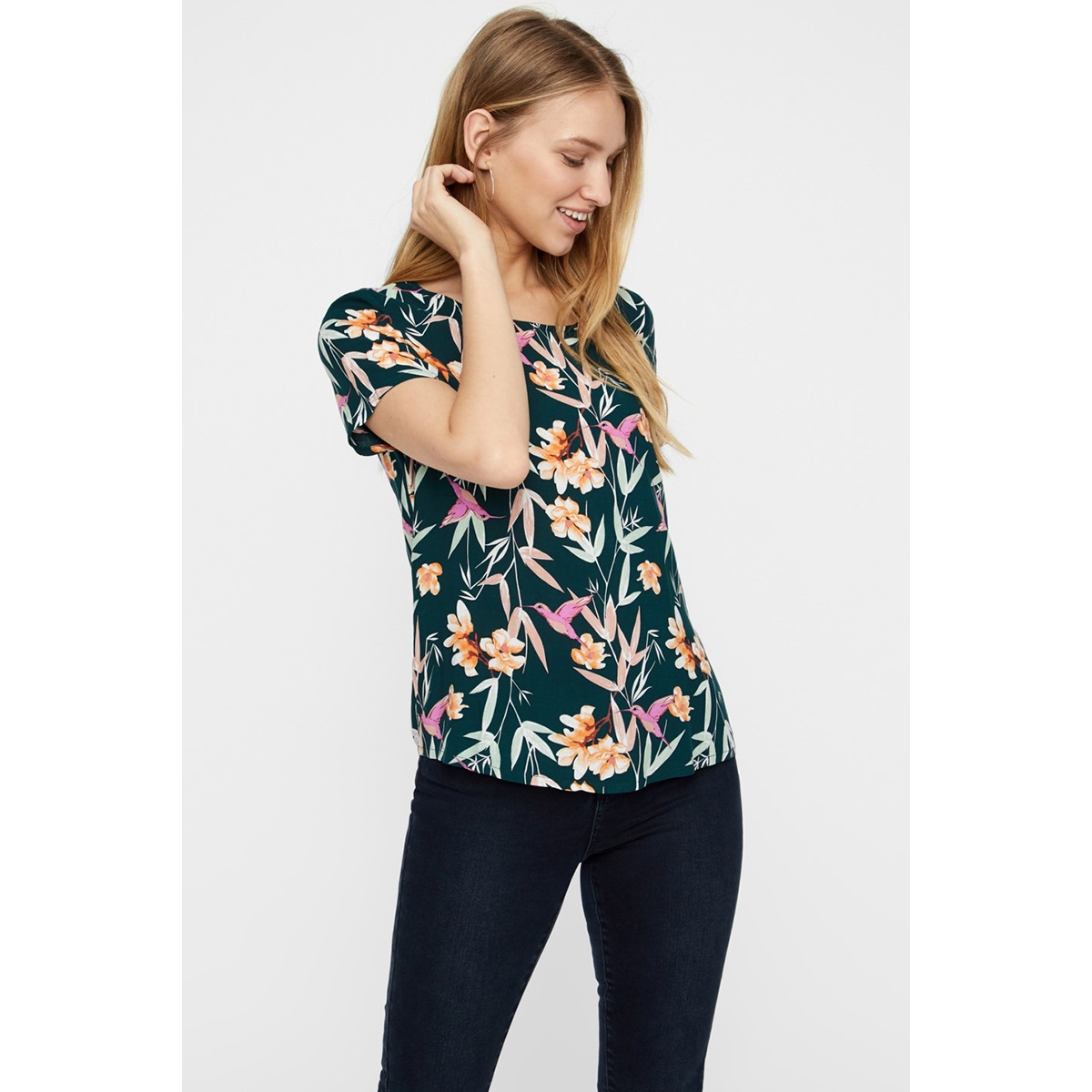 vmsimply easy ss top 10211480 vero moda t-shirt ponderosa pine/magnolia
