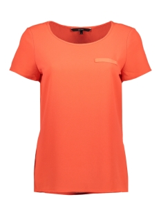 vmsasha ss top w. pocket a color 10195725 vero moda t-shirt fiery coral