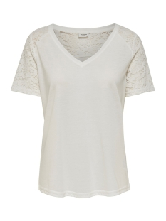 Jacqueline de Yong T-shirt JDYSTINNE S/S LACE TOP JRS 15183309 Cloud Dancer