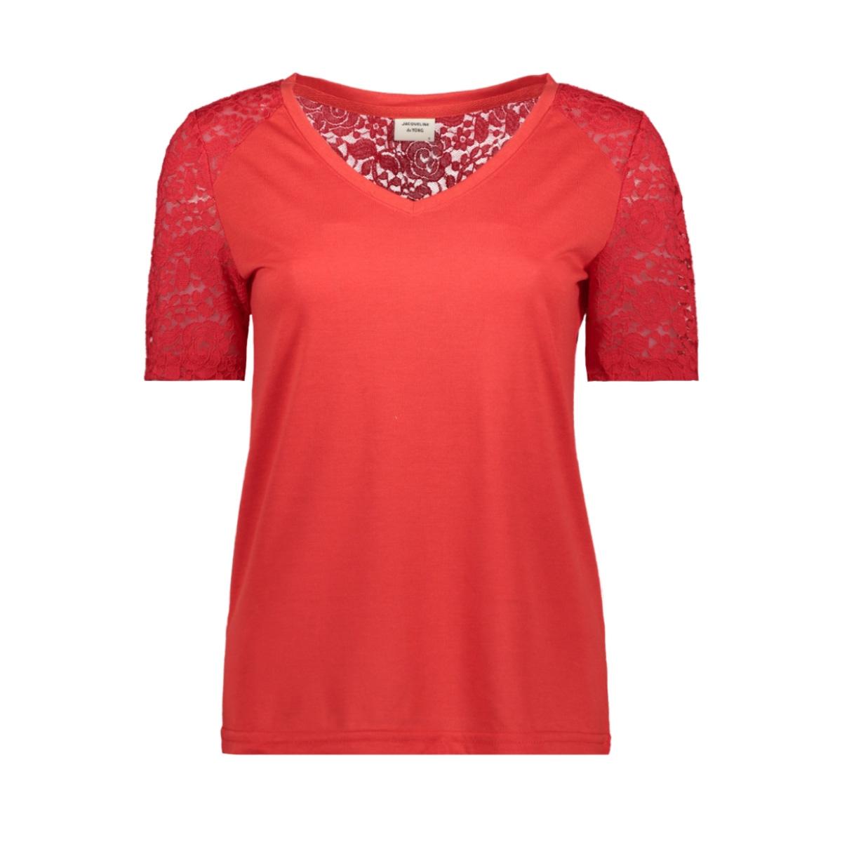 jdystinne s/s lace top jrs 15183309 jacqueline de yong t-shirt high risk red