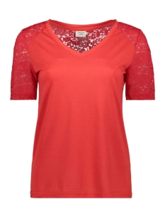 Jacqueline de Yong T-shirt JDYSTINNE S/S LACE TOP JRS 15183309 High Risk Red
