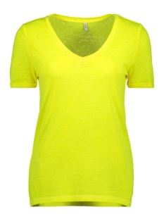 Only T-shirt ONLNESSA S/S V-NECK REG TOP CS JRS 15194055 Neon Yellow