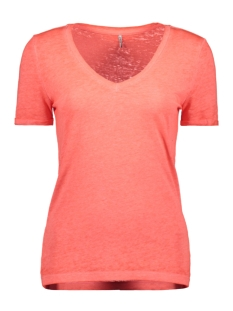 Only T-shirt ONLNESSA S/S V-NECK REG TOP CS JRS 15194055 Neon Pink