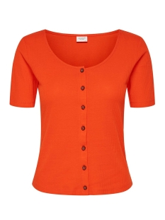 Jacqueline de Yong T-shirt JDYNEVADA TREATS S/S BUTTON TOP JRS 15179979 Orange.Com