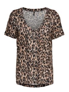 Only T-shirt ONLBLAZE S/S V-NECK AOP TOP JRS 15182748 Crème Brûlée/LEO