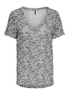 Only T-shirt ONLBLAZE S/S V-NECK AOP TOP JRS 15182748 Cloud Dancer/ZEBRA
