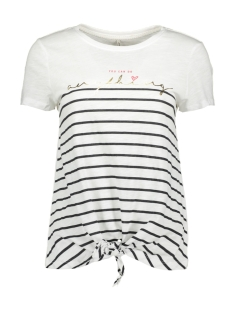 Only T-shirt ONLBINE KNOT S/S FOIL TOP BOX CO/SL 15183202 Bright White/ANYTHING
