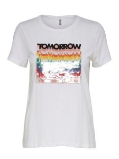 Only T-shirt ONLSHAWNA REG  S/S SEQUNS TOP BOX C 15182347 Bright White/TOMORROW