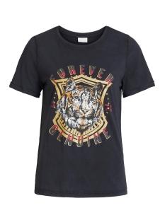 Vila T-shirt VICOLBA TIGER S/S T-SHIRT/L 14056274 Black/FRONT PRINT