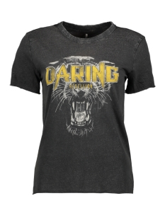 Only T-shirt ONLLUCY REG S/S ROCK TOP BOX ACID C 15183294 Black/DARING