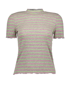 onlmay s/s sleeve t-shirt jrs 15198505 only t-shirt light grey mela/yellow and