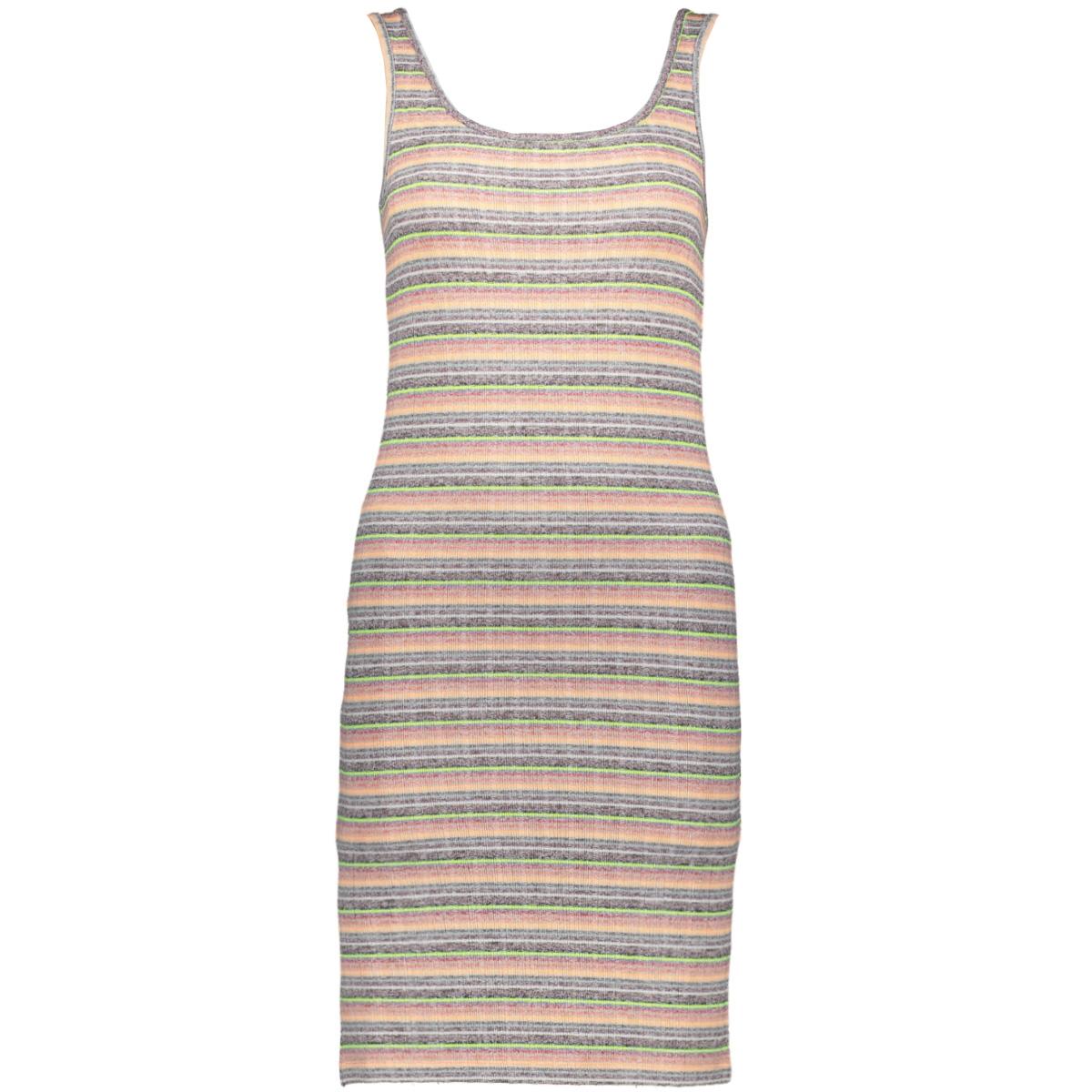 onltracey s/l dress jrs 15195756 only jurk light grey mela/neon multi