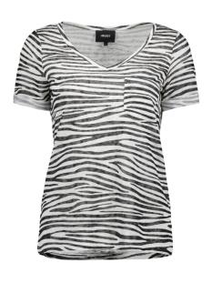 Object T-shirt OBJTESSI SLUB S/S V-NECK AOP SEASON 23029730 White/ZEBRA