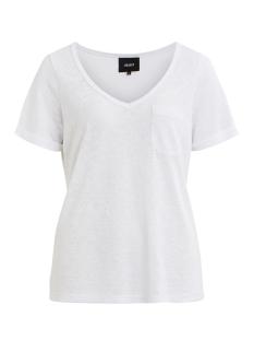 Object T-shirt OBJTESSI SLUB S/S V-NECK NOOS 23023816 White