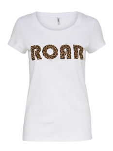 Only T-shirt ONLROAR S/S TOP JRS 15184236 Bright White/LEO