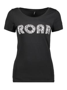 onlroar s/s top jrs 15184236 only t-shirt black/zebra