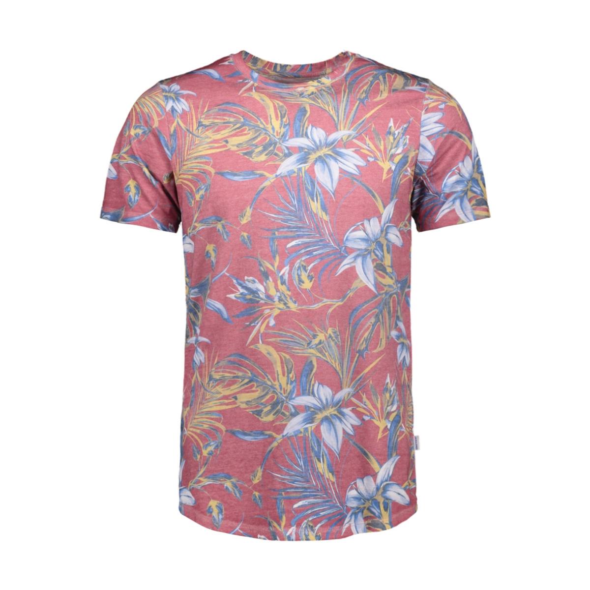 jorzeq tee ss crew neck 12155556 jack & jones t-shirt brick red/slim