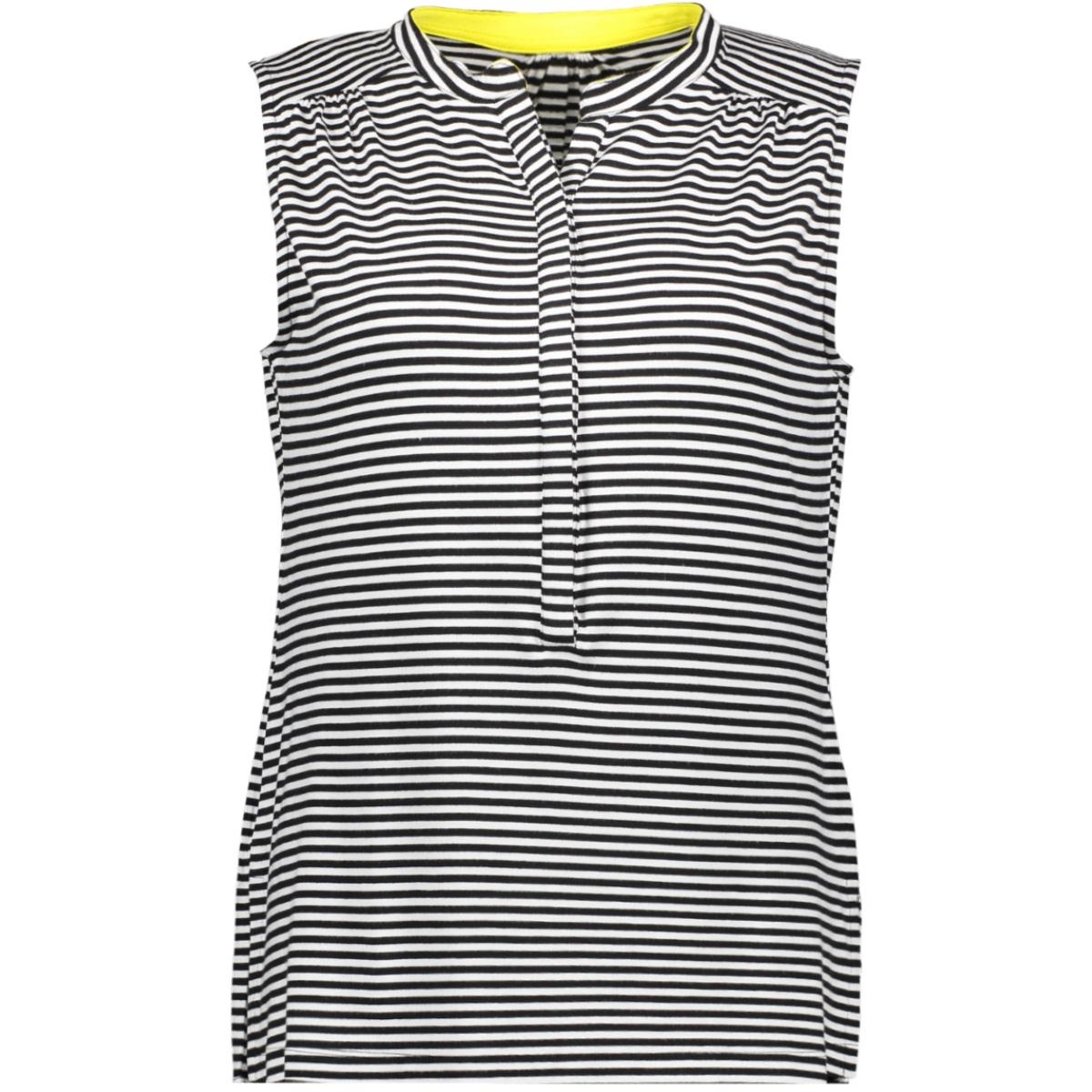 ora sleeve less top 193 zoso top black/white/yellow