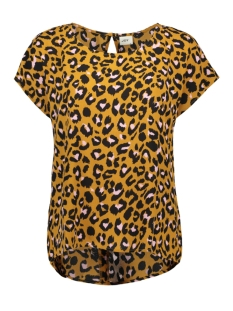 Jacqueline de Yong T-shirt JDYUTRECHT MILO TRICK S/S TOP WVN 15187967 Golden Brown/ROSA LEO