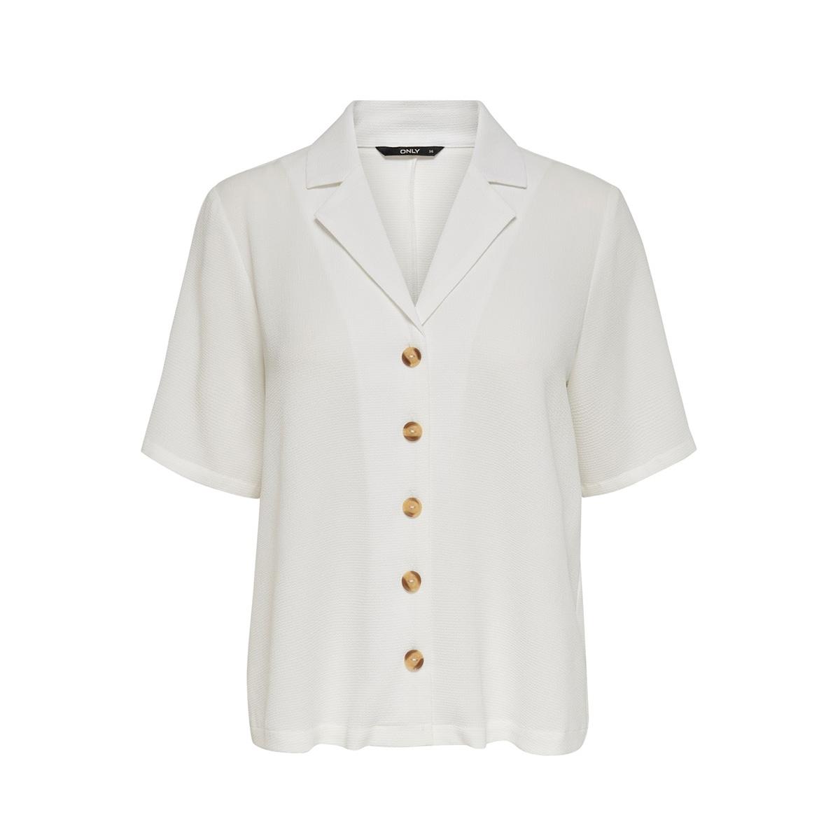 onlnova lux solid button trough shi 15180699 only blouse cloud dancer