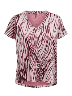 onlnadeem s/s v-neck top cs jrs 15197114 only t-shirt bright white/zebra