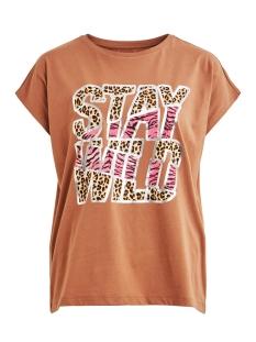 Vila T-shirt VITTA T-SHIRT /RX 14056334 Caramel Café/STAY WILD