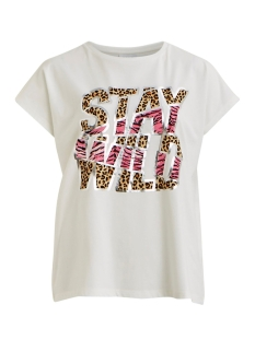 Vila T-shirt VITTA T-SHIRT /RX 14056334 Cloud Dancer/STAY WILD