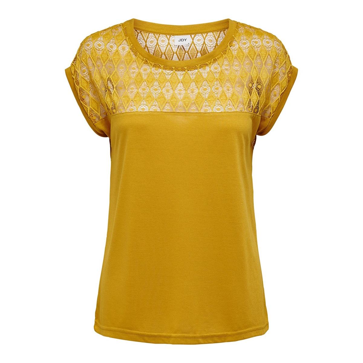 jdykimmie renee s/s lace top jrs ex 15193015 jacqueline de yong t-shirt harvest gold/dtm lace