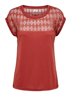 Jacqueline de Yong T-shirt JDYKIMMIE RENEE S/S LACE TOP JRS EX 15193015 Tandori Spice/DTM LACE