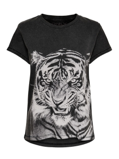 Only T-shirt ONLNEAT SS O-NECK TIGER DNM TEE 15181937 Black