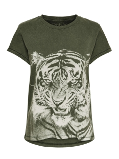 Only T-shirt ONLNEAT SS O-NECK TIGER DNM TEE 15181937 Forest Night