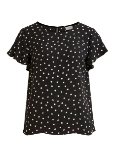 Vila T-shirt VILUCY S/S FLOUNCE TOP - FAV LUX 14049944 Black/CLOUD DANCER