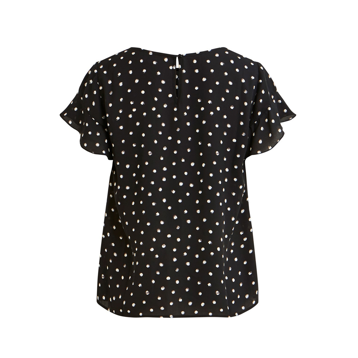 vilucy s/s flounce top - fav lux 14049944 vila t-shirt black/cloud dancer
