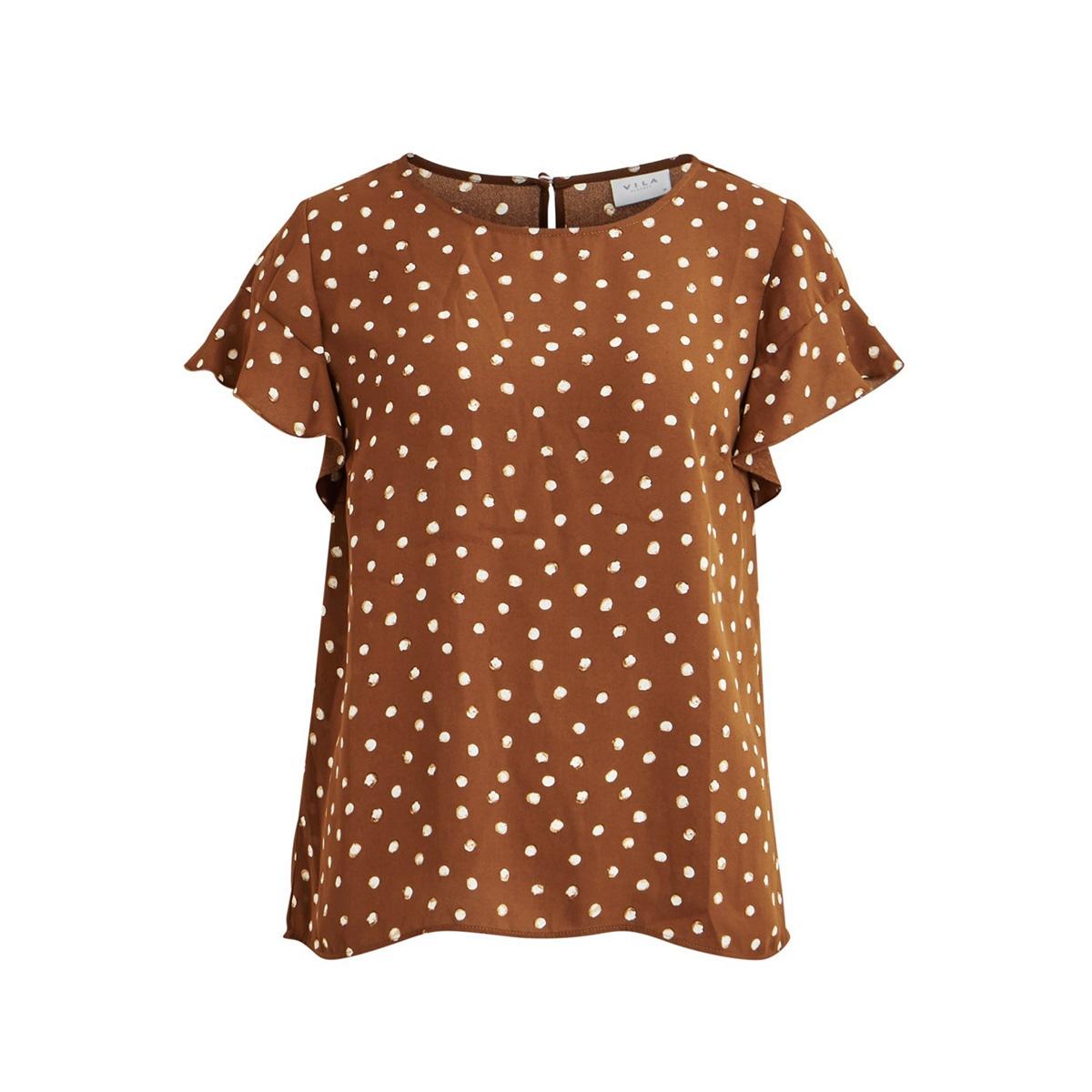 vilucy s/s flounce top - fav lux 14049944 vila t-shirt toffee/cloud dancer