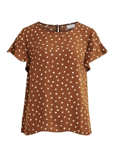 Vila T-shirt VILUCY S/S FLOUNCE TOP - FAV LUX 14049944 Toffee/CLOUD DANCER