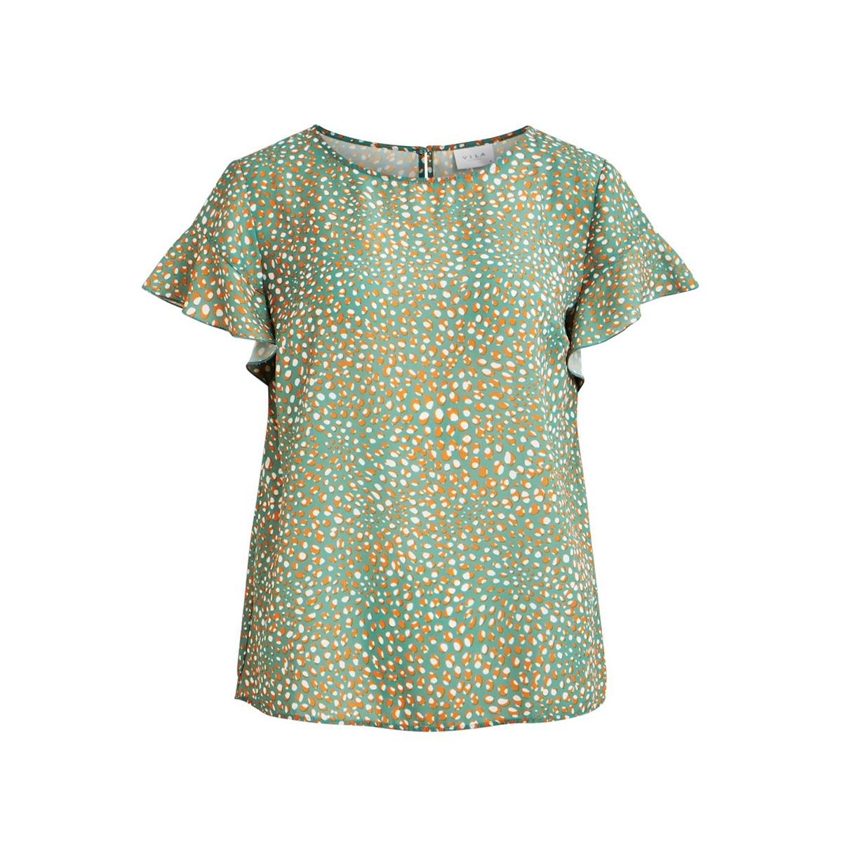 vilucy s/s flounce top - fav lux 14049944 vila t-shirt oil blue/golden oak