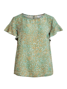 Vila T-shirt VILUCY S/S FLOUNCE TOP - FAV LUX 14049944 Oil Blue/GOLDEN OAK