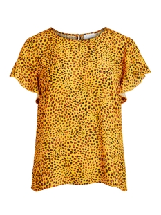 Vila T-shirt VILUCY S/S FLOUNCE TOP - FAV LUX 14049944 Goldenrod/CARAMEL