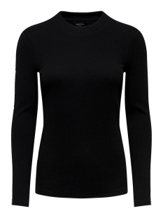 Only Trui ONYVICTORIA L/S RIB TOP BOX JRS 15185509 Black/ TEXT AT SLEEVES