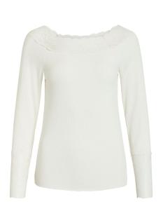 Vila T-shirt VISOFI BOATNECK L/S T-SHIRT 14053960 Whisper White/w. white