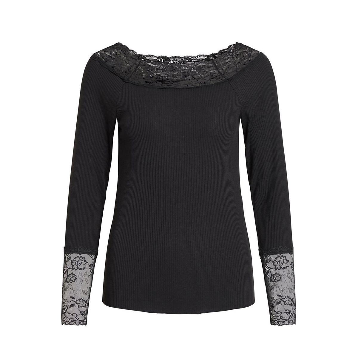 visofi boatneck l/s t-shirt 14053960 vila t-shirt black/w. black l