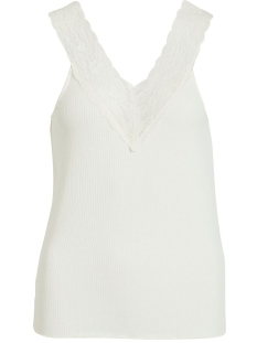 Vila Top VISOFI V-NECK S/L TOP 14053965 Whisper White/w. white